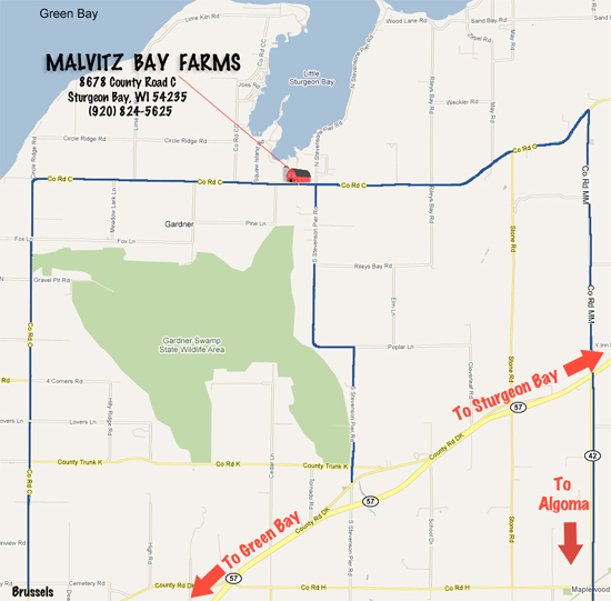Directions to Malvitz Bay Farms